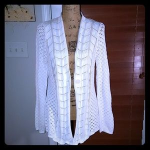 White 1 button sweater